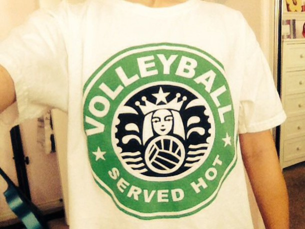 shirt starbucks coffee volleyball
