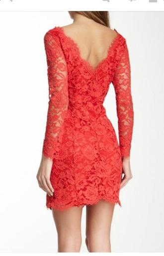 dress coral dress lace dress v back dress