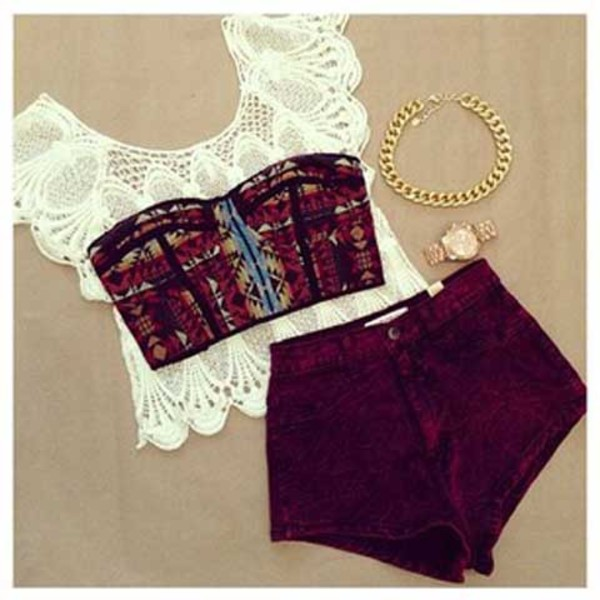 shorts High waisted shorts blouse necklace watch white red sweet shirt hippie jewels t-shirt burgundy wine crop tops bandeau pattern lace cream ivory wine shorts burgandy shorts gold chain gold watch bra top gold pants tank top jacket burgundy maroon top aztec aztec print top burgundy shorts knitwear target $30.00 loves summer fashion cute dress style girly summer top crop tops lace top bustier bralette tribal pattern bandue top boho chic boho shirt hippie hat home accessory red shorts High waisted shorts underwear white top maroon shorts burgundy mini shorts