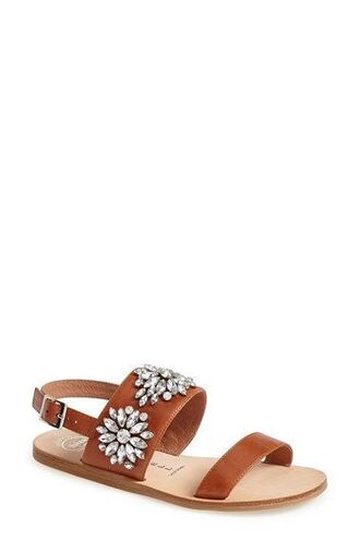 shoes jeweled sandals sandals flat sandals brown sandals