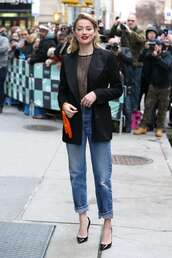 jacket,jeans,denim,amber heard,celebrity,fall outfits,see through