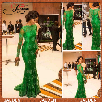 green evening dress long sleeve dress lace evening dress