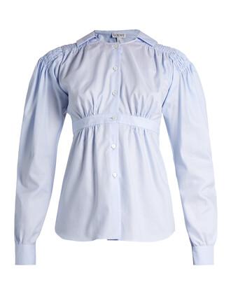 blouse sailor cotton light blue light blue top