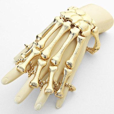 skeleton ring bracelet hand chain gold