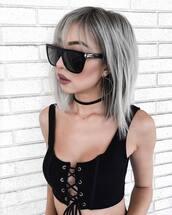 top,tumblr,black crop top,crop tops,lace up,black top,necklace,choker necklace,black choker,sunglasses,earrings,silver earrings,hair,hairstyles,platinum hair