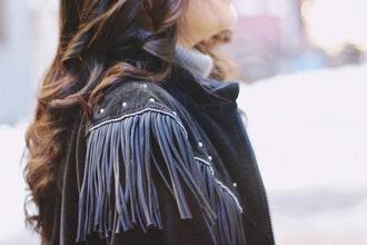 runaway in la blogger fringes leather jacket