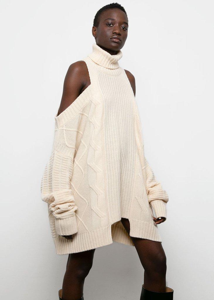 Cold Shoulder Sweater Dress-Cream