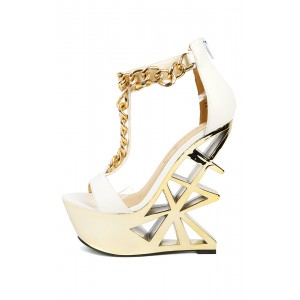 Privileged Picasso White Chain Platform Wedges | MakeMeChic.com