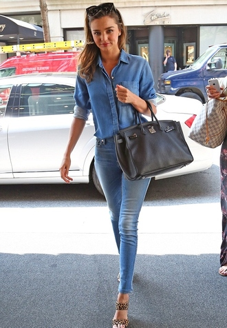 jeans miranda kerr denim denim shirt leopard print high heels sandals sunglasses casual shirt shoes