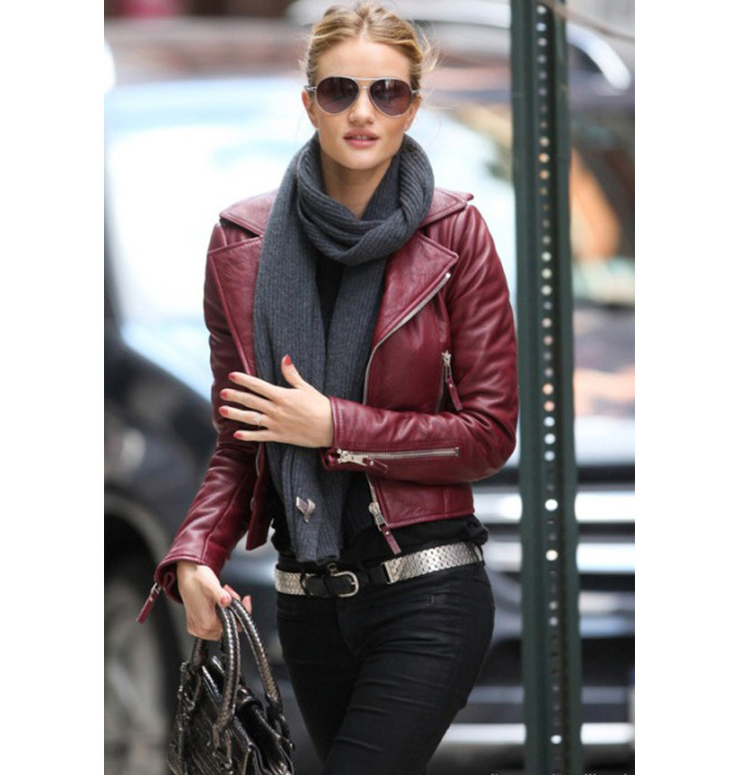 Brand Rivet PU Faux Leather Moto Motorcycle Jacket Ladies Zipper ...