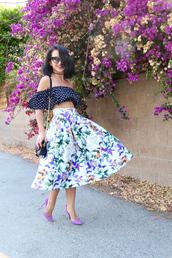 ktr style,blogger,top,skirt,bag,shoes,midi floral skirt