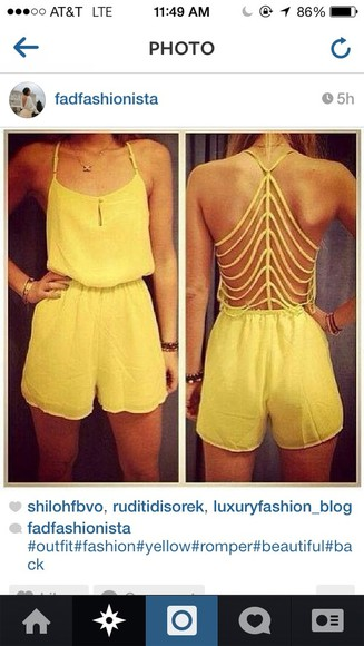 yellow shorts shorts yellow romper jumper top cut out back open back jumpsuit yellow shorts onepiece