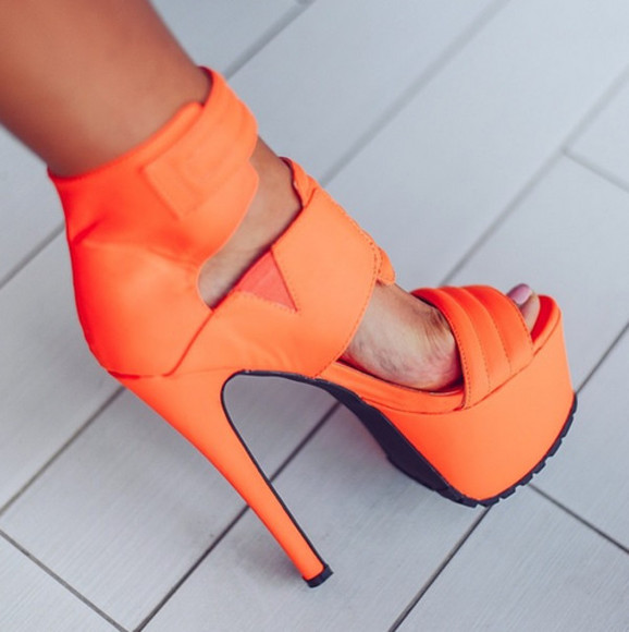 shoes high heels orange