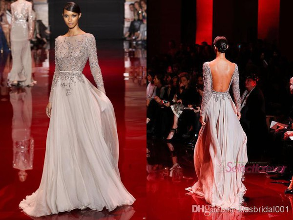 elie saab sheer 2015 backless evening dresses prom dress long sleeves 2014 prom gowns 2014 evening gowns
