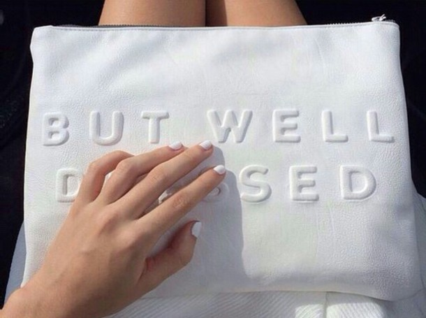 bag clutch wallet handbag on point on point clothing tumblr outfit galentines day white dress white bag