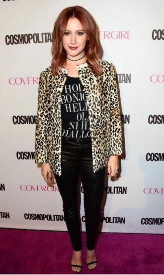 jacket top animal print pants ashley tisdale