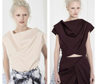 blouse white black burgundy beige pleated