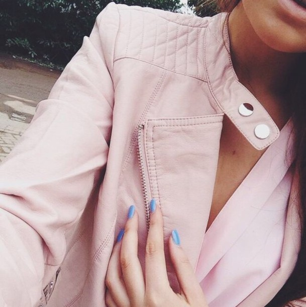 jacket pink leather leather jacket pink jacket faux leather tumblr jacket tumblr fashion blogger blogger blogger fashion high quality girl girly outerwear