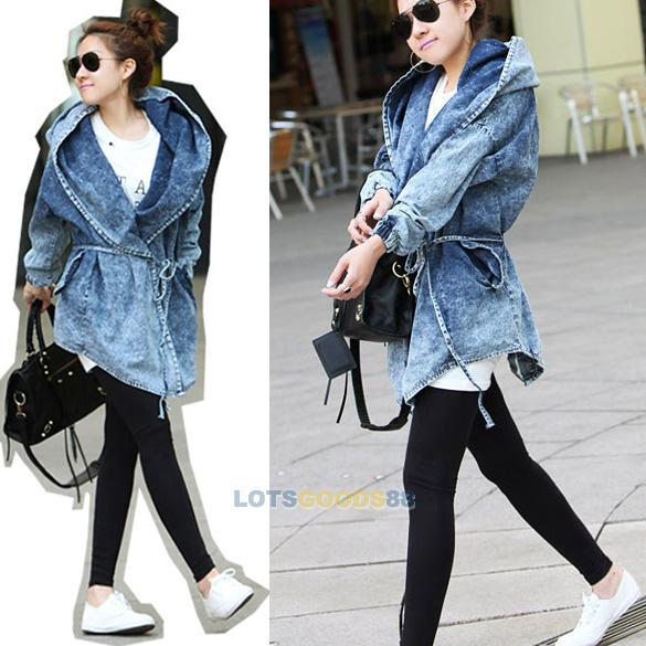 New womens denim jean trench oversized hoodie outerwear hooded jeans coat jacket