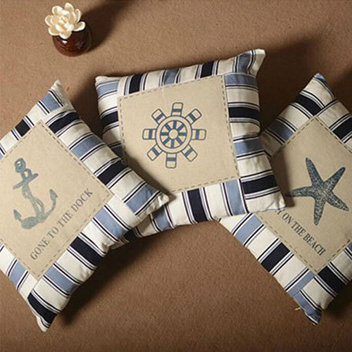 [grxjy5170012]Nautical Stripe Anchor/Rudder/Starfish/Sailboat Print Throw Pillow