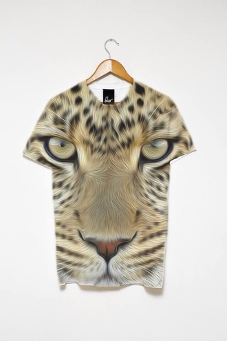 t-shirt leopard animal face print