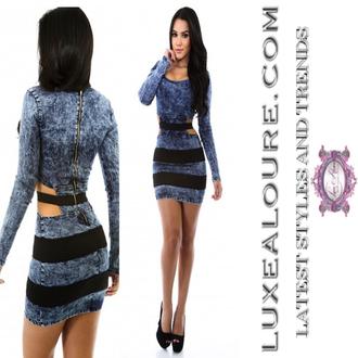 long sleeves sexy sexy dress cut-out dress short dress short club dresses denim girl