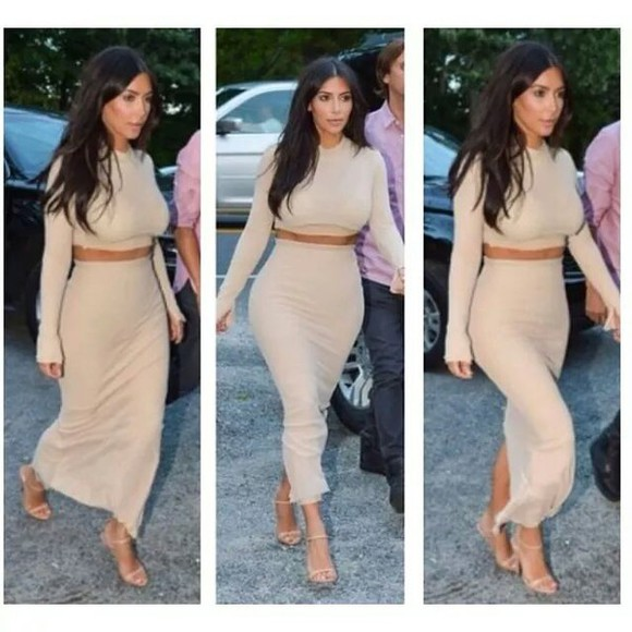 maxi beige maxi skirt skir crop cropped skin colour skin color twinset twin set two-piece blouse