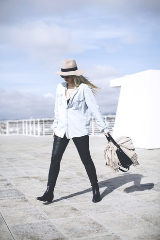 room91 blogger denim shirt leather leggings shirt scarf hat bag sunglasses shoes