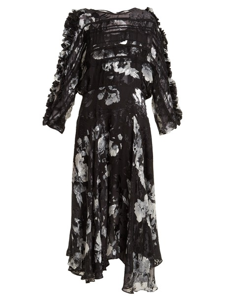 PREEN BY THORNTON BREGAZZI dress floral print silk white black