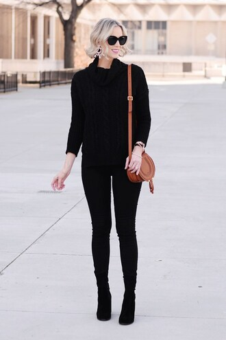 straight a style blogger jeans shoes sweater coat black sweater shoulder bag winter outfits black pants
