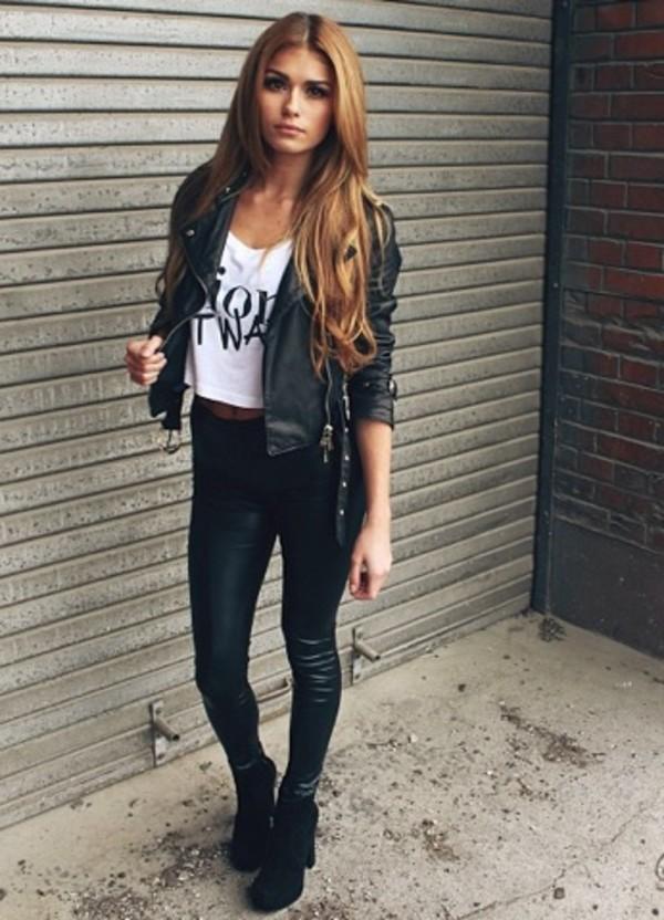 tank top white cute nail polish jacket jeans shoes