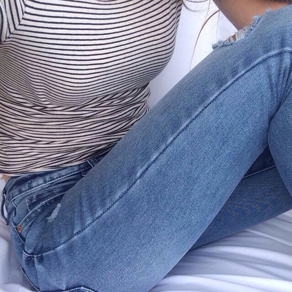 striped shirt stripes black and white jeans