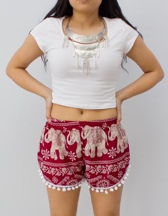 shorts thai beach elephant pom pom