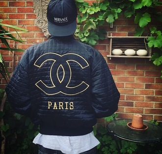 jacket versace chanel chanel style jacket bomber jacket vintage nike black cap
