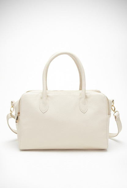 bag dual zippered top satchel cream handbag elegant lightweight fully lined forever 21