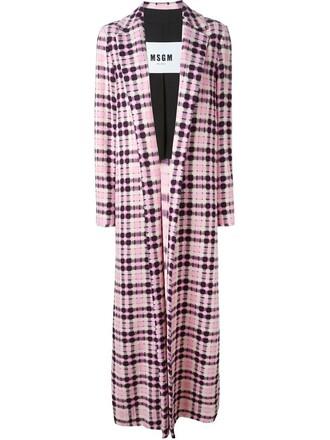 coat long coat long women cotton purple pink