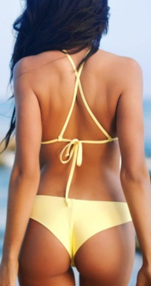 cross back yellow swimwear bikini bikini top bikini bottoms swimming costume two peice pale yellow lemon