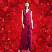 dress,aidan mattox,red dress,long bridesmaid dress,evening dress,wedding guest,prom dress,ruffle dress