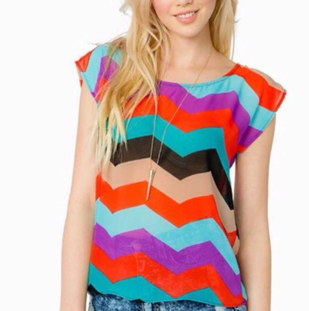 top chevron multicolor
