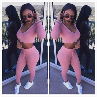 jumpsuit pink sportswear sporty cool fashion comfy musheng