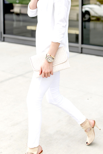 krystal schlegel blogger shoes bag white pants nude heels long sleeves button up