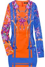 Versace|Floral-print stretch-satin dress|NET-A-PORTER.COM
