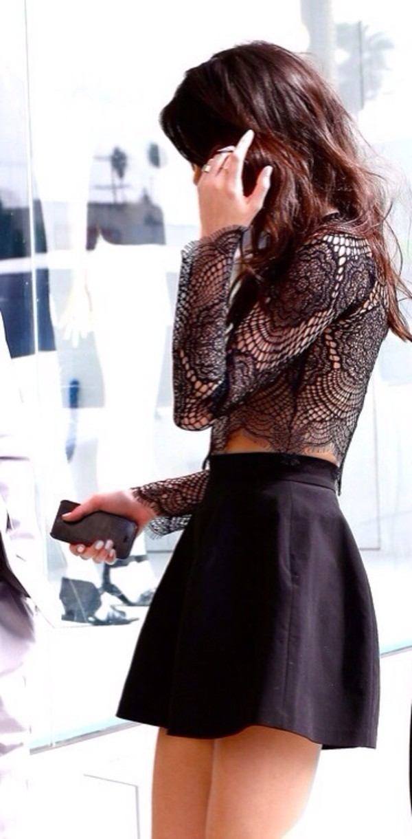 shirt lace skirt blouse kendall jenner shoes dress kardashians black top black shirt sheer top sheer lace top lace shirt top black skirt see through cut-out transparent black lace dressy dressy top t-shirt black crop tops