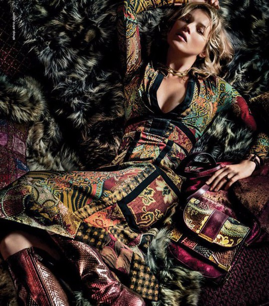 dress italian italian design boho hippie multicolor patchwork 70s style luxury haute couture fall outfits winter outfits autumn/winter trendy model kate moss bohemian boho dress