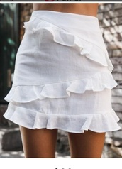 skirt,girly,girl,girly wishlist,white,ruffle,mini,mini skirt,cute