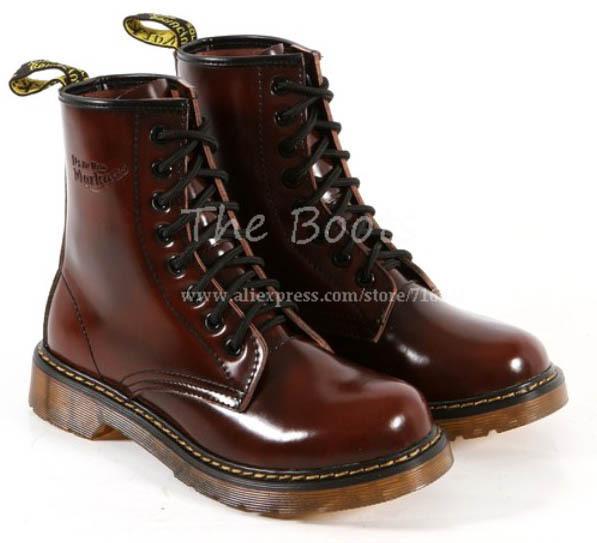 de gran tamaño más mujeres 8 1460 ojo de encaje arriba plana de combate militar botas de tobillo de cerezo en de en Aliexpress.com