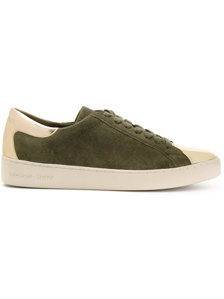 MICHAEL Michael Kors metallic women sneakers lace leather cotton suede green shoes