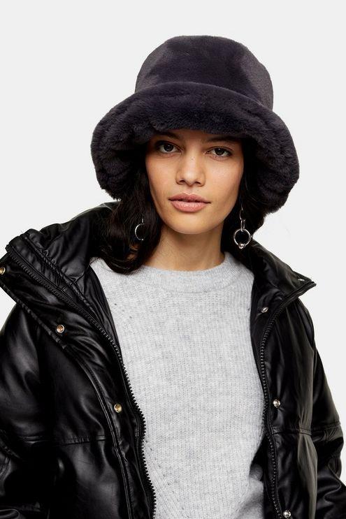 Grey Faux Fur Bucket Hat - Grey