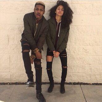 jeans light ripped jeans bomber jacket menswear streetwear jacket