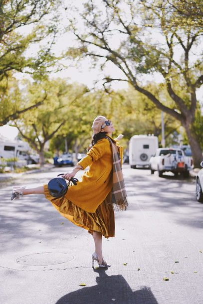 hallie daily blogger coat scarf skirt shoes bag sunglasses t-shirt beret yellow coat winter outfits velvet skirt